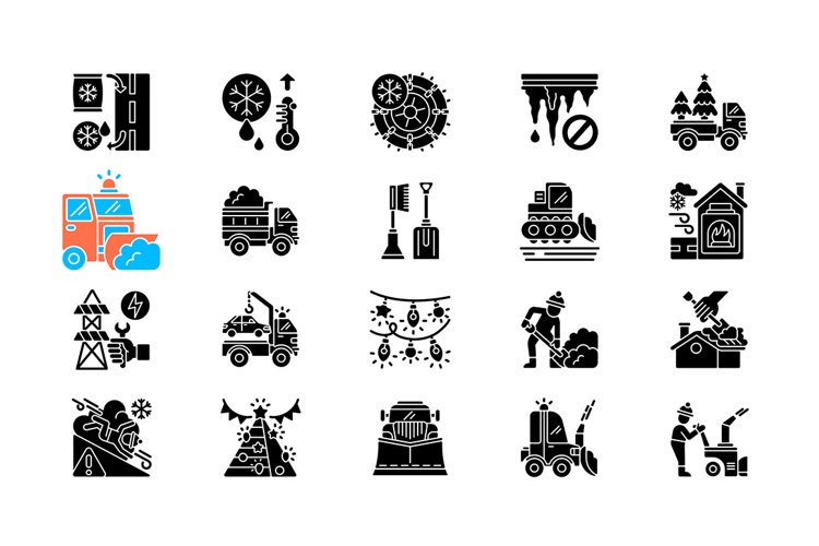 Snow removing services black glyph icons set on white space