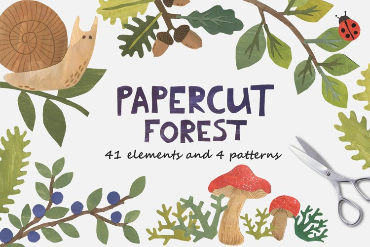 Papercut Forest Clip Art example image 1