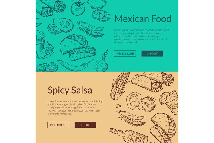Vector banner with mexican food elements example image 1