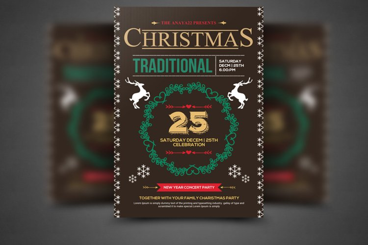 Retro Christmas Party Flyer Template example image 1