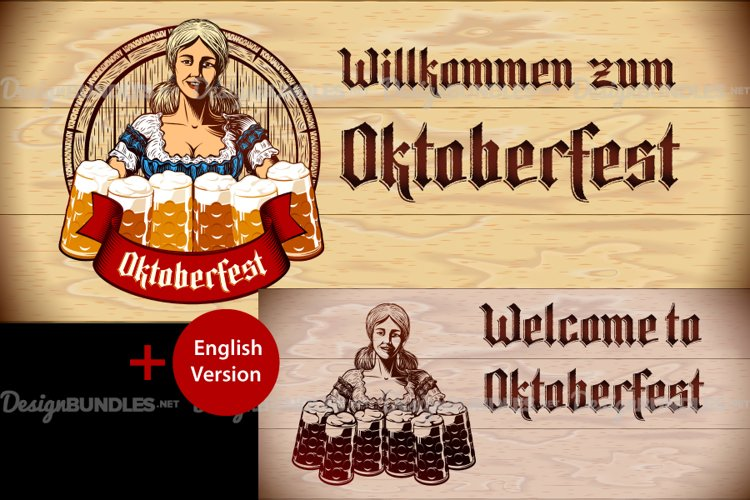Vector Flyer Invite Copyspace Beer Glass Oktoberfest Girl