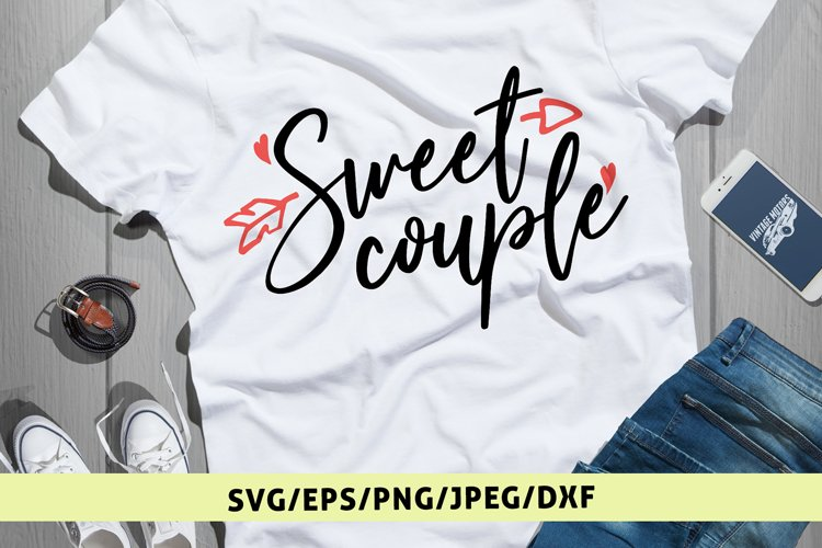 Sweet Couple - Love SVG EPS DXF PNG Cutting Files example image 1