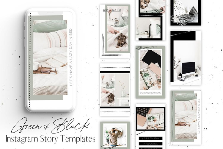 Green & Black Instagram Story Templates for Canva