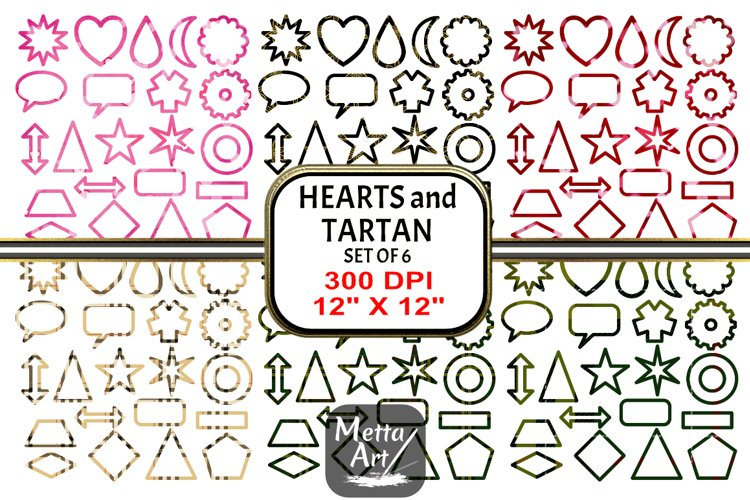 6 Sets x 22 Borders/Frames - Hearts and Tartans and a Floral example image 1