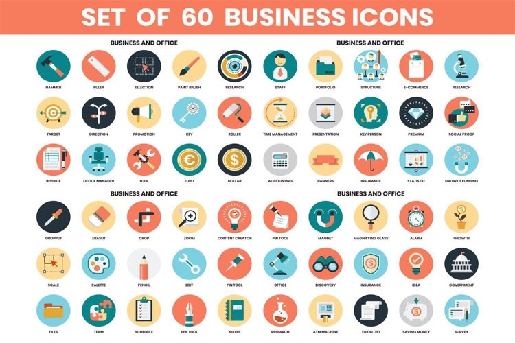 Business icons & Objects Vector Set example