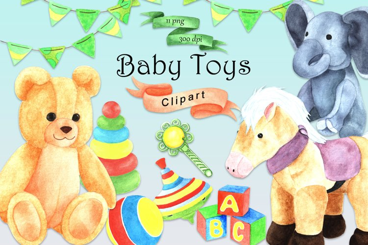 Watercolor Baby Toys Clipart, Digital Watercolor Toys, PNG