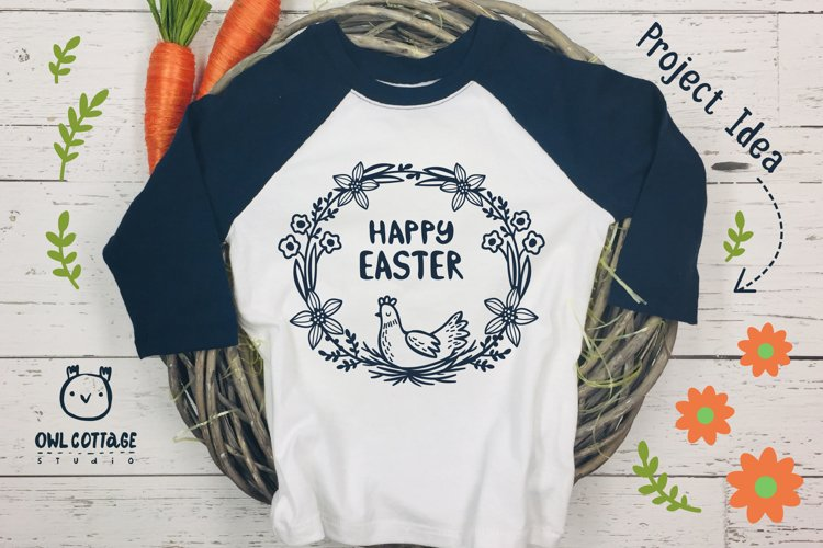 Easter Wreath with Hen svg, Easter Floral Monogram, Easter example 9