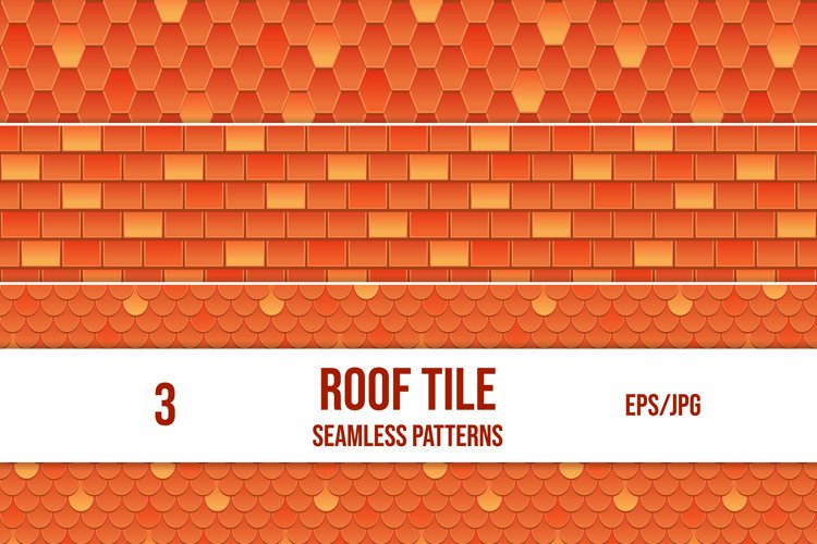 Set of 3 vector seamless pattern of red roof tile. example image 1