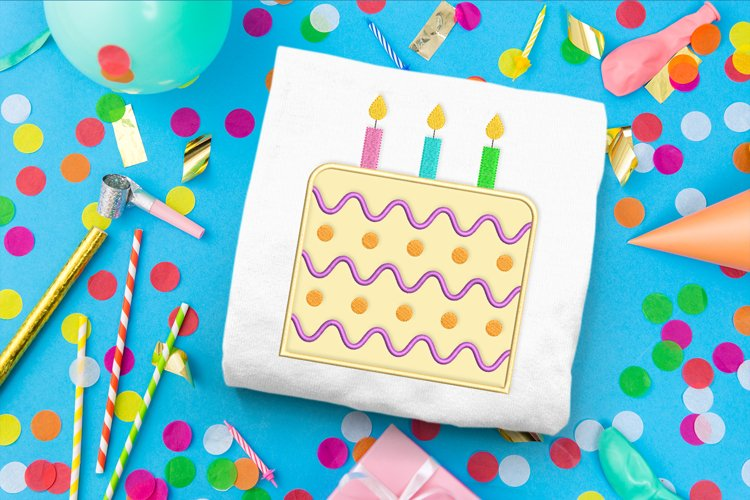 Birthday Cake with Candles Applique Embroidery Design