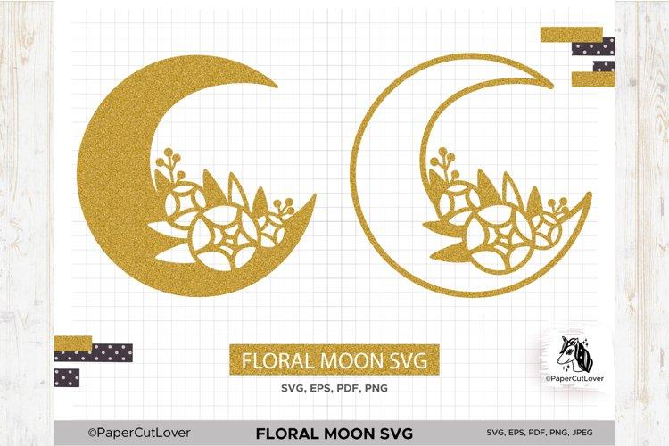 Floral Moon SVG Crescent Moon SVG Half Moon Paper Cut Boho example image 1