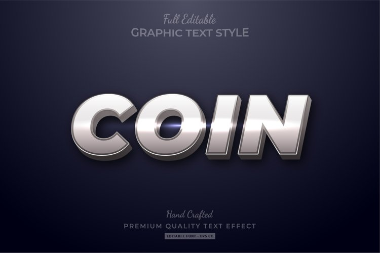 Silver Coin Shine Editable Text Effect Font Style example image 1