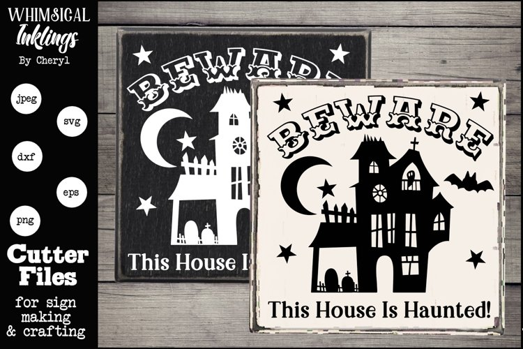 Beware Haunted House-Halloween SVG example image 1