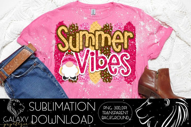 Gnome Summer Vibes Ice cream Sublimation Design PNG File