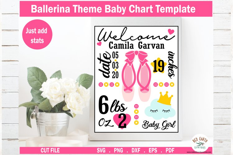 Ballerina Baby announcement chart template,baby stat SVG,DXF