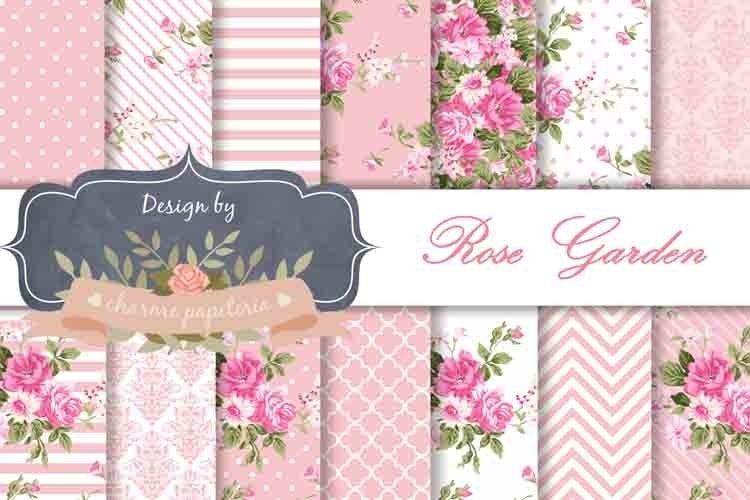 Pink floral Digital Paper Wedding Background Rose and white example image 1