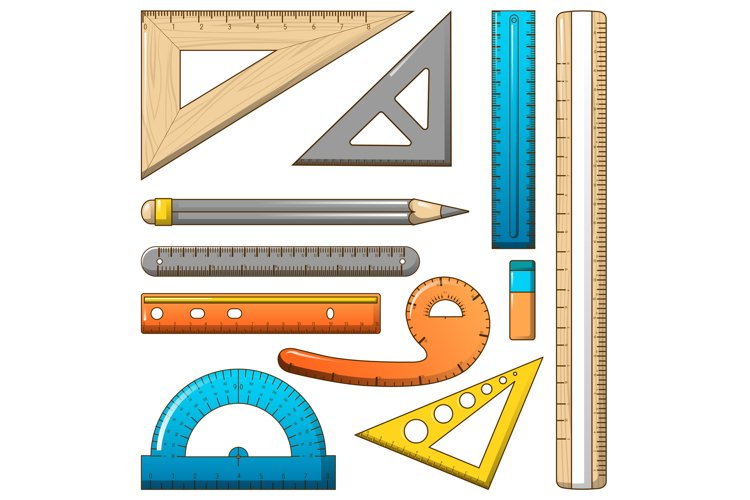 Ruler measure pencil icons set, cartoon style example image 1