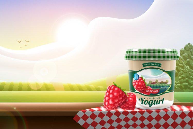 Greek yogurt with raspberry jar design