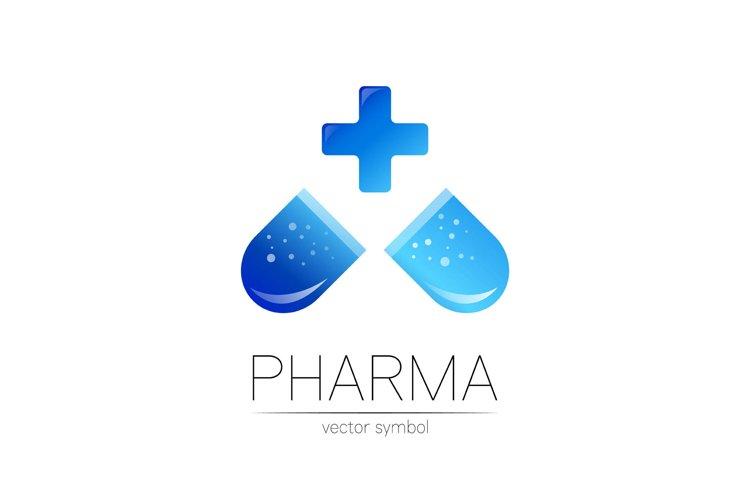 Pharmacy vector symbol with blue cross for pharmacist pharma