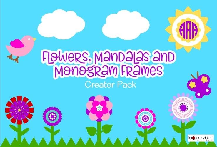 Flowers, mandalas and monogram frames creator pack.  example image 1