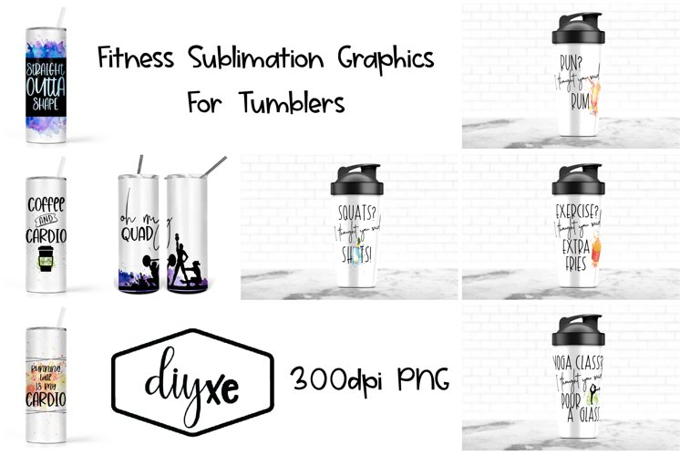 Fitness Sublimation Graphics For Skinny Tumblers