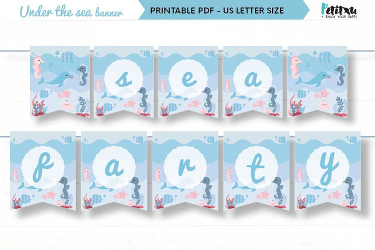 Under the sea party printable banner, birthday party decor