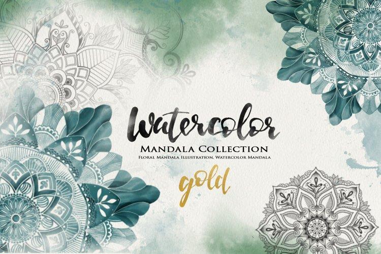 Watercolor & Gold Hand Drawn Mandala example image 1