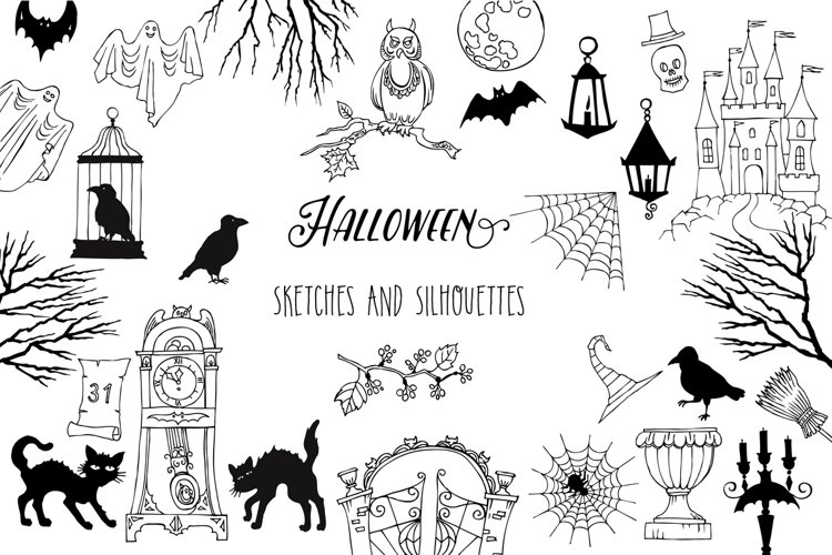 Halloween. Sketches and Silhouettes