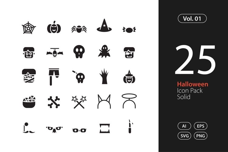 Halloween Icon Solid SVG, EPS, PNG example image 1