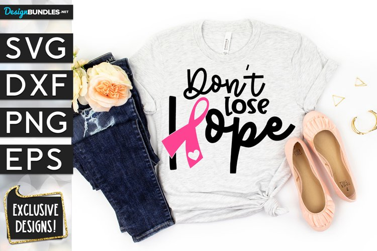Dont Lose Hope Breast Cancer Ribbon SVG DXF PNG EPS
