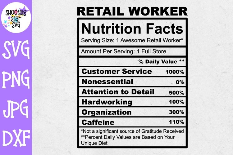 Retail Worker Nutrition Facts SVG - Retail Worker SVG example image 1