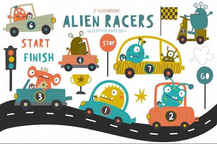Alien racers clipart and paper set
