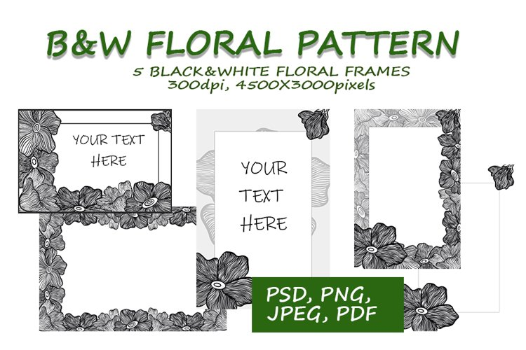 Black&White floral frames collection