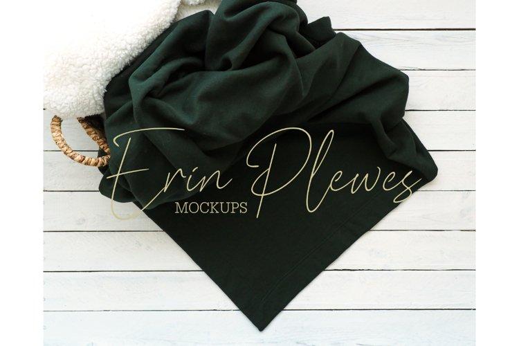 Blanket Mockup Green  Fleece Blanket Mock Up Stock Photo example image 1
