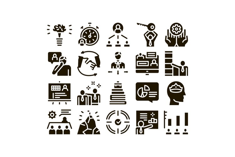 Mentor Relationship Glyph Set Vector example image 1