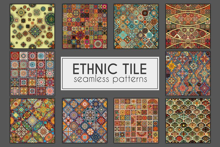 Ethnic tile seamless pattern collection example image 1