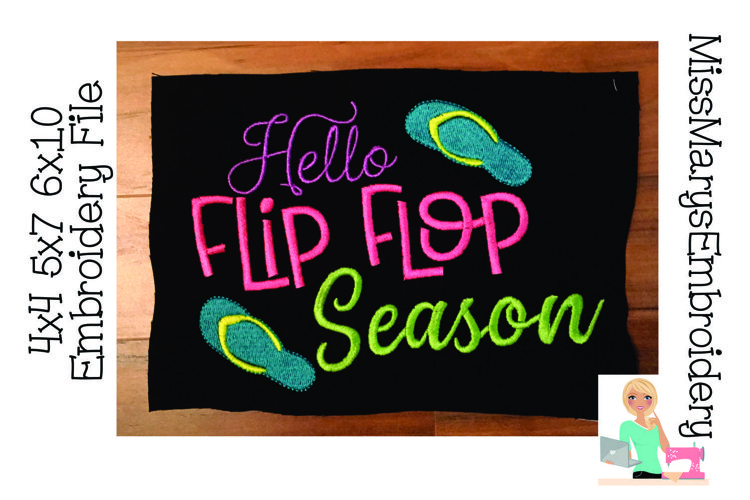 Hello Flip Flop Season Embroidery   Embroidery Design File example image 1