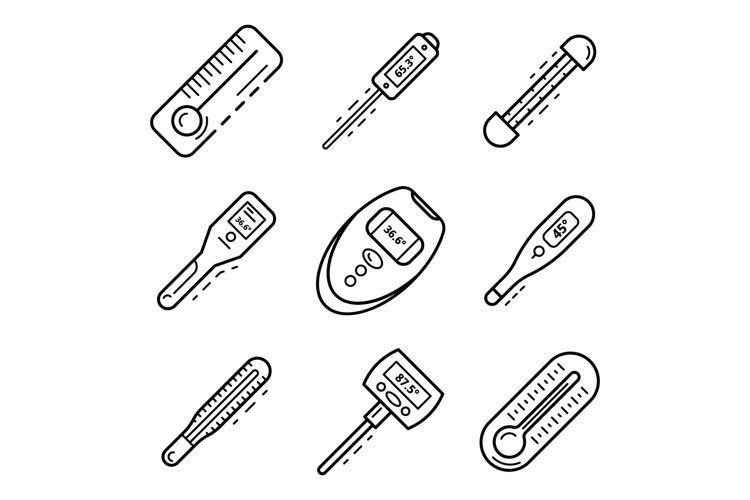 Thermometer icon set, outline style example image 1
