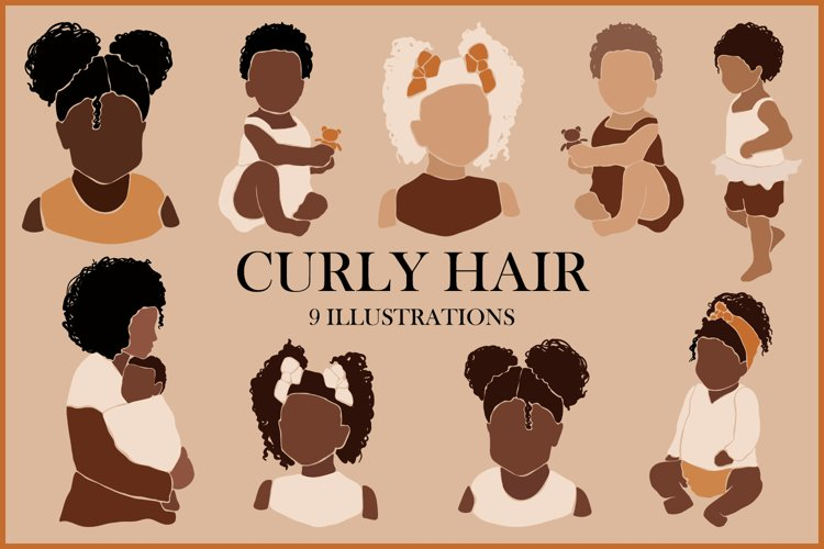 Abstract curly hair baby clipart