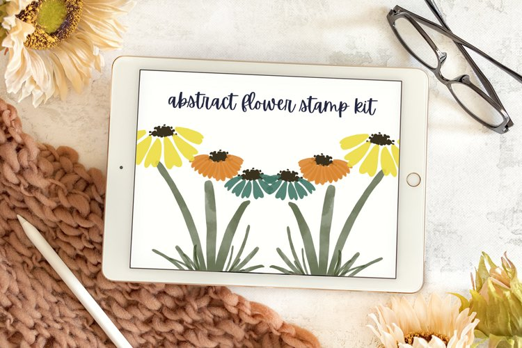 Abstract Flowers Stamp Kit - Procreate Stamps example
