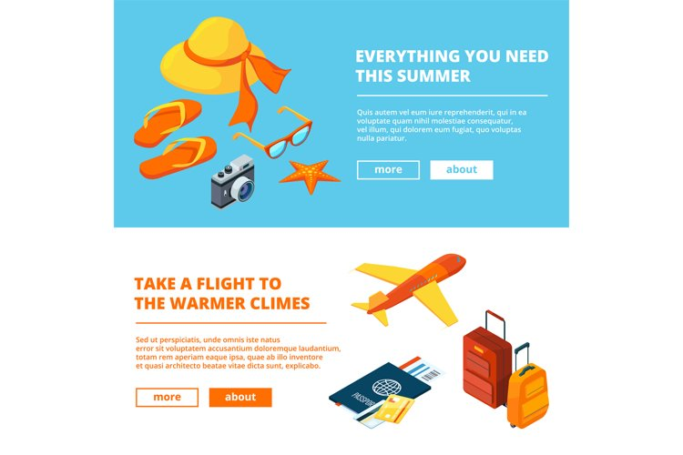 Banners of summer time. Isometric illustrations of summer tr