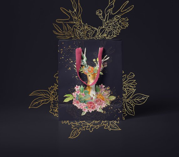 Watercolor floral deer printable clipart, golden graphics example 4