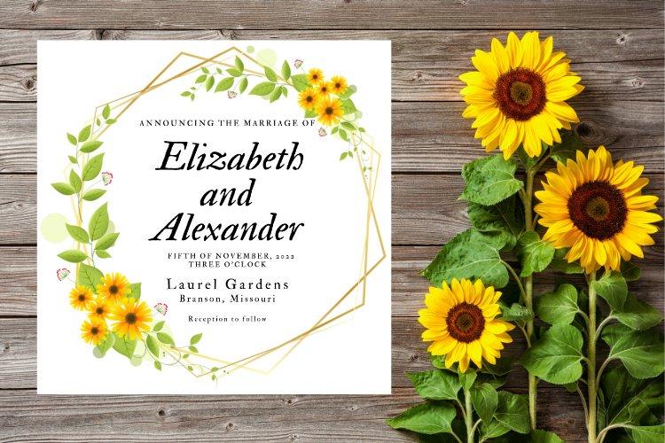 Sunflower Wedding Invitation example image 1