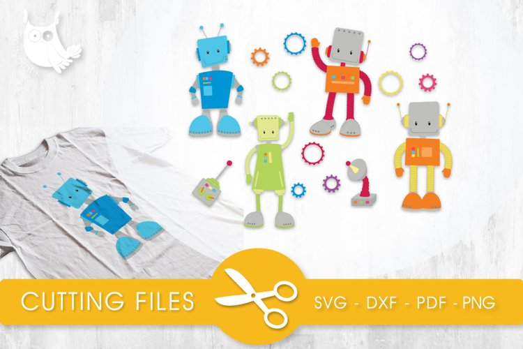 Boy Robots cutting files svg, dxf, pdf, eps included - cut files for cricut and silhouette - Cutting Files SVG example image 1