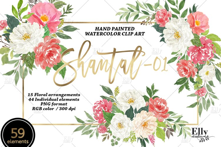 Watercolor Flowers clipart - Shantal example image 1