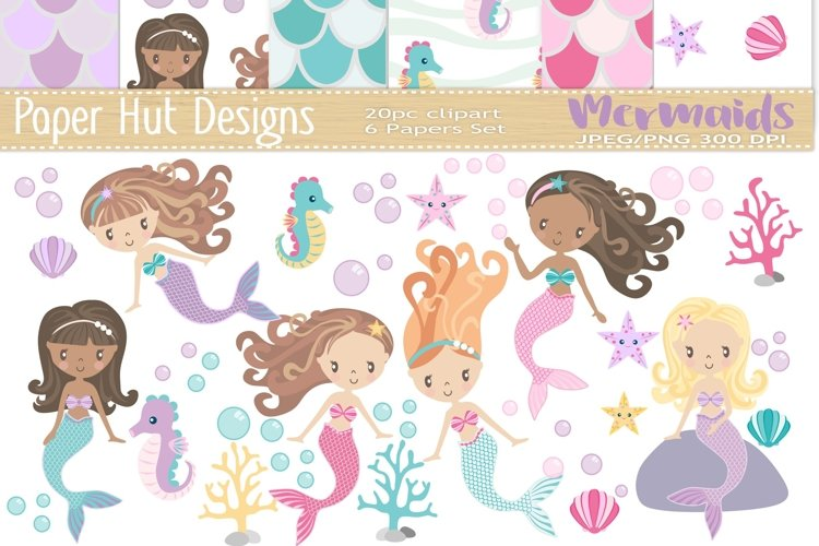 Mermaid Clipart and Digital Papers Set example image 1