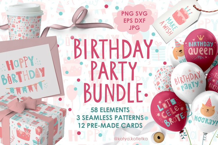 Birthday Party SVG Bundle. Cute Doodle Collection