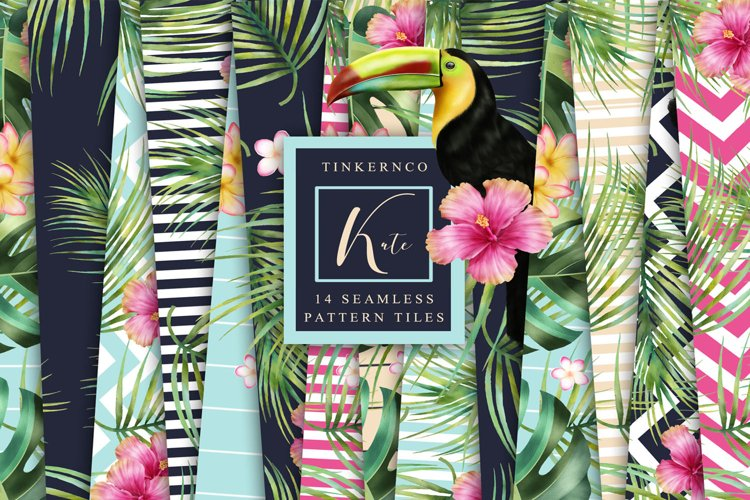 Tropical summer Seamless Travel pattern tiles. example image 1