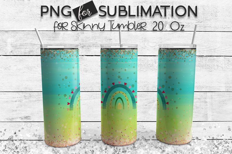 Rainbow sublimation for skinny tumbler - green turquoise