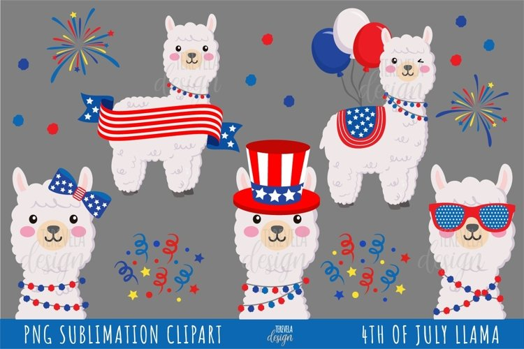 FOURTH OF JULY LLAMAS CLIPART, FOURTH OF JULY SUBLIMATION