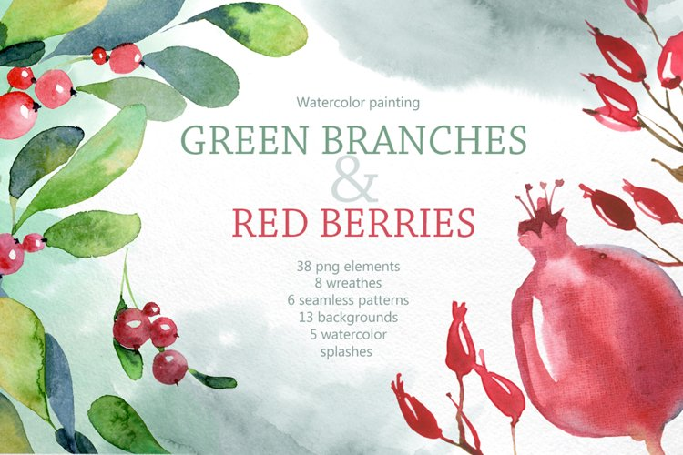 Watercolor branches and berries example image 1